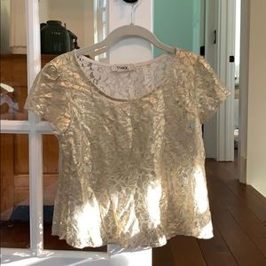 Gold Shimmery Lace Cropped Tee